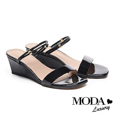 涼鞋 MODA Luxury 自信雙條帶造型方頭高跟楔型涼鞋-黑