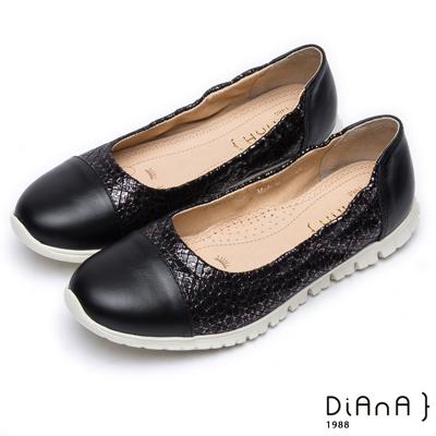 DIANA 漫步雲端厚切焦糖美人款—質感紋路拼接真皮休閒鞋 –黑
