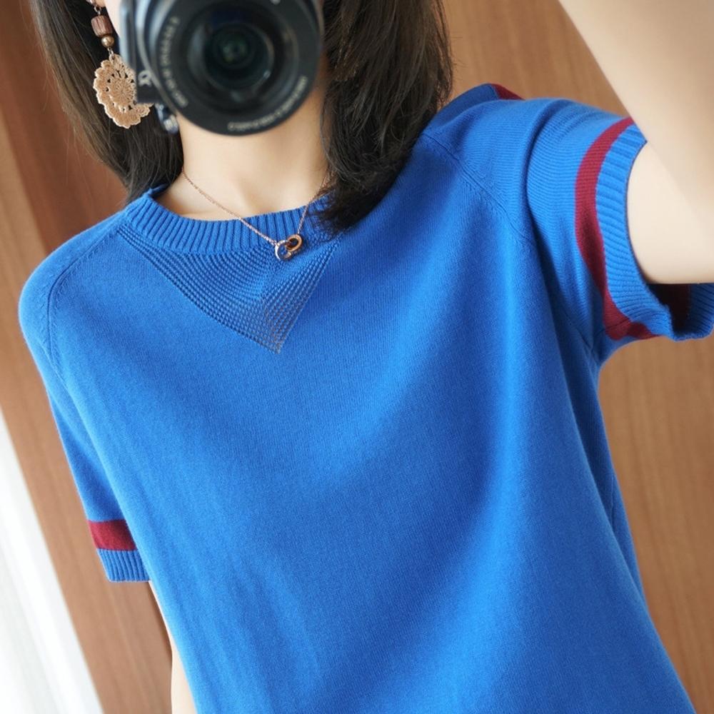 ALLK 歐楷 超彈力配色針織上衣 共11色(尺寸F 任選) (寶藍色)