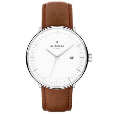Nordgreen Philosopher 復古棕真皮錶帶腕錶-40mm(PH40SILEBRXX)