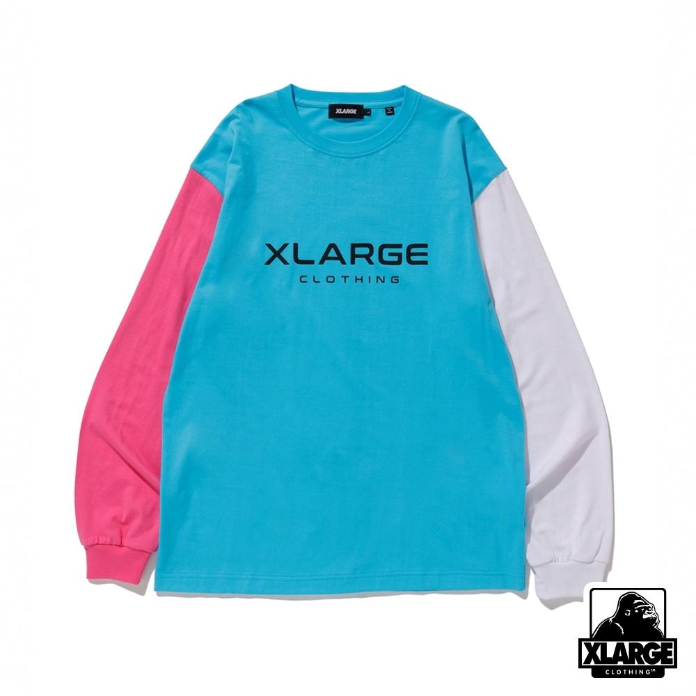 XLARGE L/S TEE TRICOLOR長袖T恤-藍