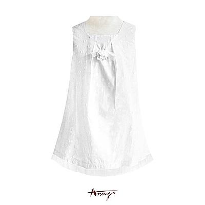 Annys純淨系立體玫瑰高緞蝴蝶結圈圈壓紋洋裝*0163白