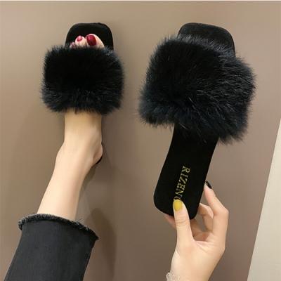 KEITH-WILL時尚鞋館 視覺個性絨毛一字拖-黑色
