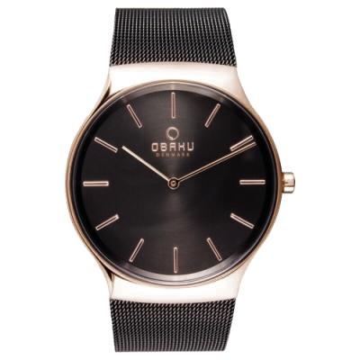 OBAKU 纖細時刻二針極簡米蘭腕錶-玫瑰金x黑(V178GXVBMB)/40mm