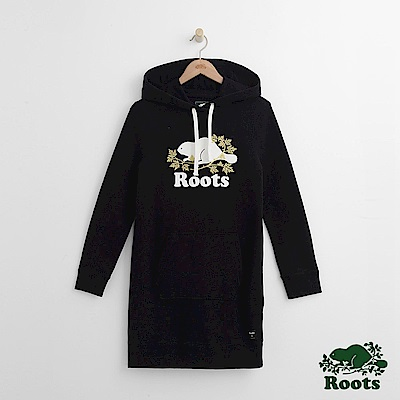 Roots -女裝- 周年系列楓葉連帽洋裝 - 黑