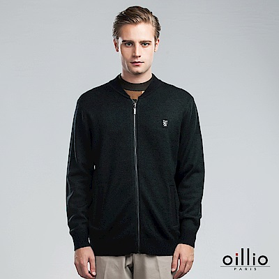 歐洲貴族 oillio 羊毛毛衣外套 素面簡約 保暖首選 墨綠色