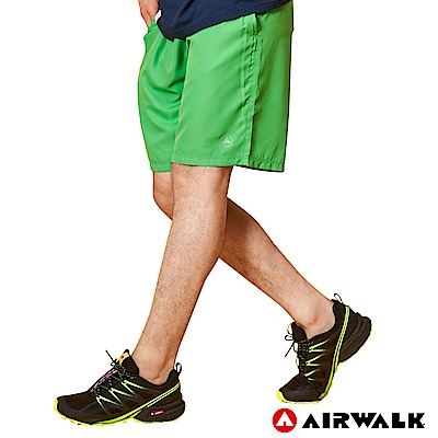 【AIRWALK】男款吸排運動短褲-淺綠