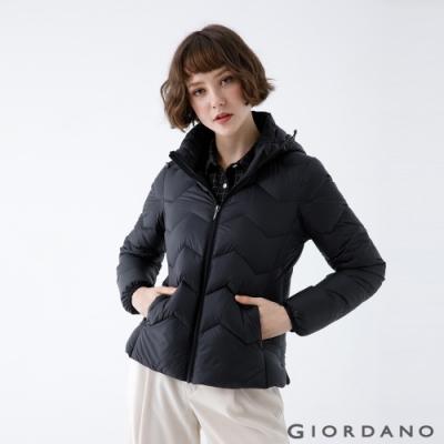 GIORDANO 女裝可拆式連帽羽絨外套 - 09 標誌黑