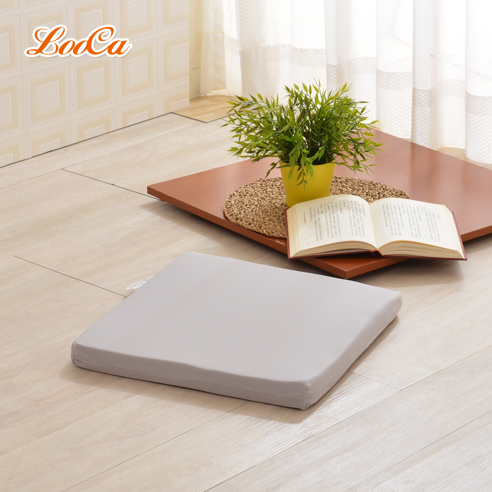LooCa 釋壓記憶棉座墊(吸濕排汗布套-可拆洗)灰