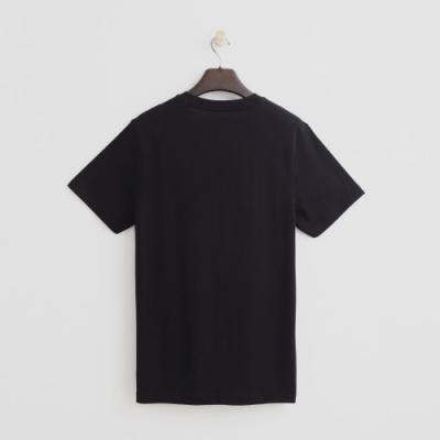 Hang Ten - 男裝 - 有機棉-純色黑白圖印短棉T - 黑