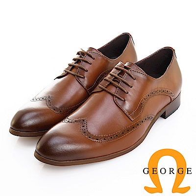 GEORGE 喬治皮鞋 歐風型男 都會時尚素面翼紋德比鞋 -棕
