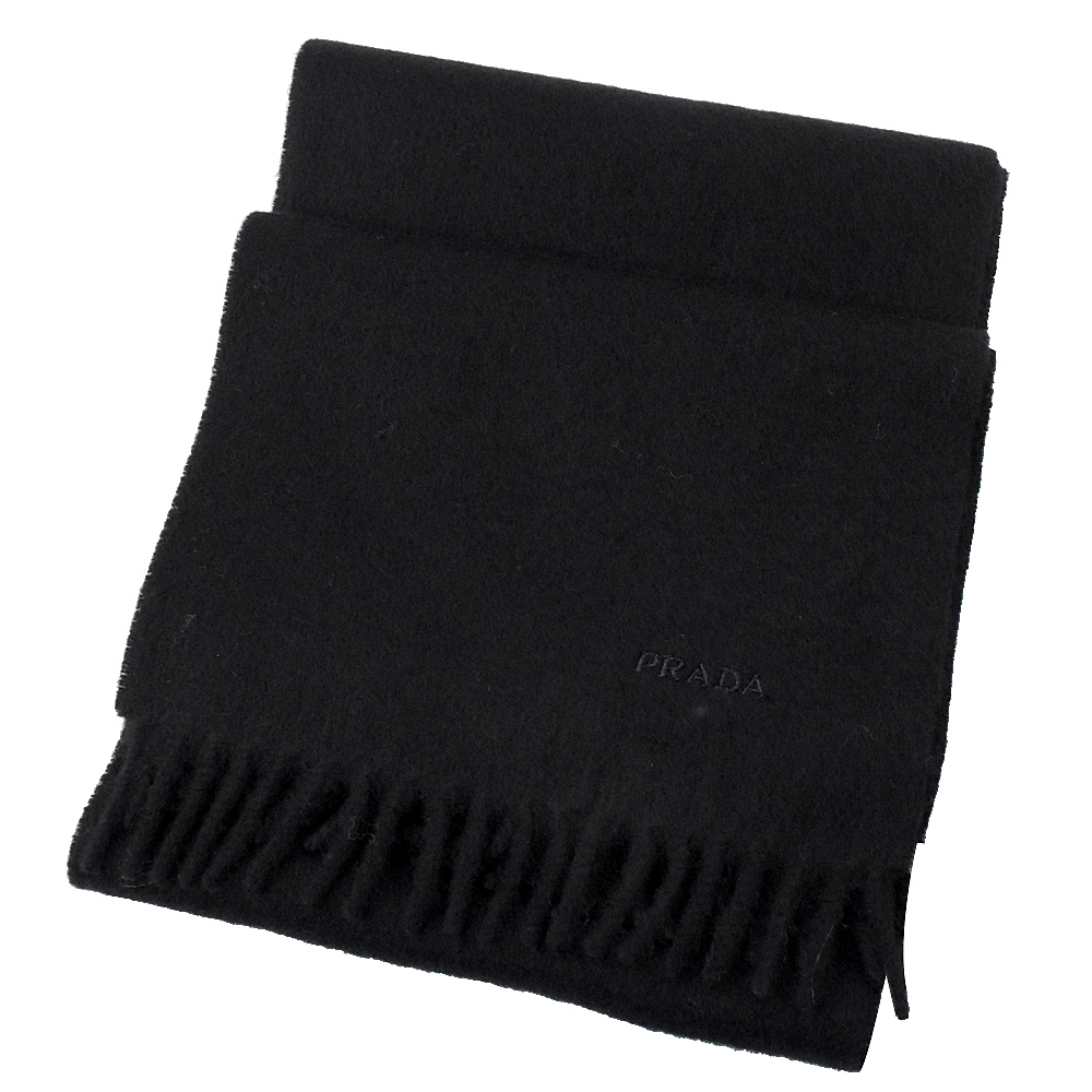 PRADA 電繡LOGO長型羊毛圍巾(黑)