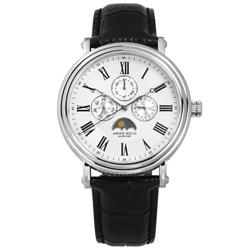 ARIES GOLD 日月相錶 羅馬時標 藍寶石水晶玻璃 真皮手錶-白x黑/43mm