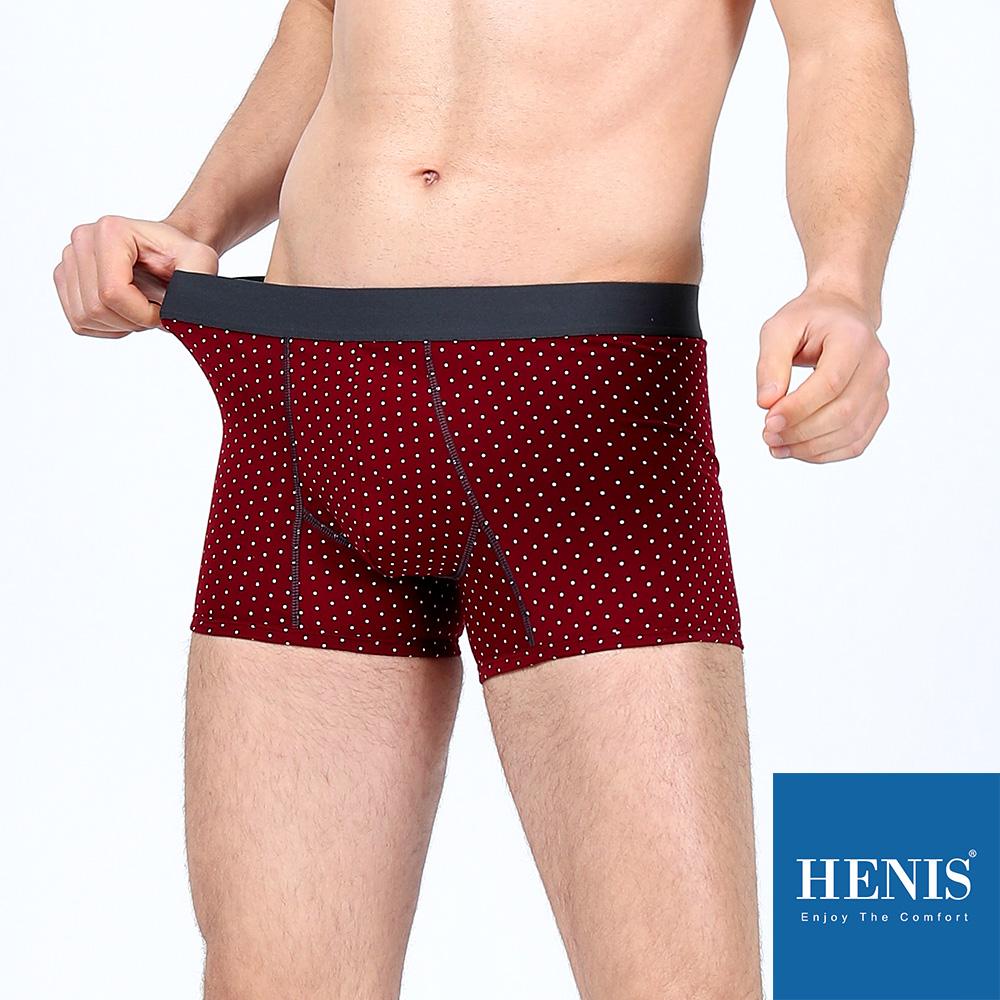 HENIS A-Class立體大空間 彈性貼身四角褲 (圓點暗紅) @ Y!購物