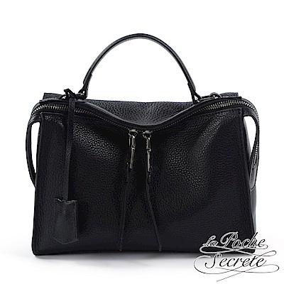 La Poche Secrete 側背包 真皮皮飾流蘇垂墜包-百搭黑
