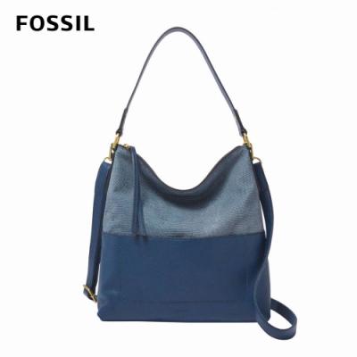 【FOSSIL】Amelia 雙色真皮HOBO-星空藍 SHB2604497