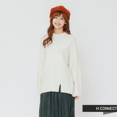H:CONNECT 韓國品牌 女裝 - 開岔設計高領針織上衣-白(快)