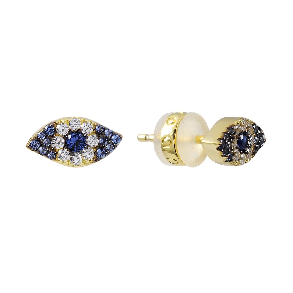 apm MONACO法國精品珠寶 深藍x吉普賽之眼金色耳環
