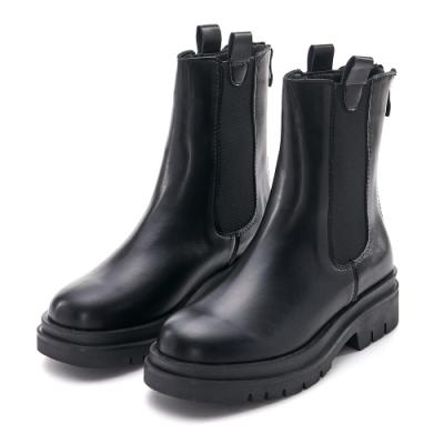 JMS-率性簡約素面異材質拼接後拉鍊短靴-黑色