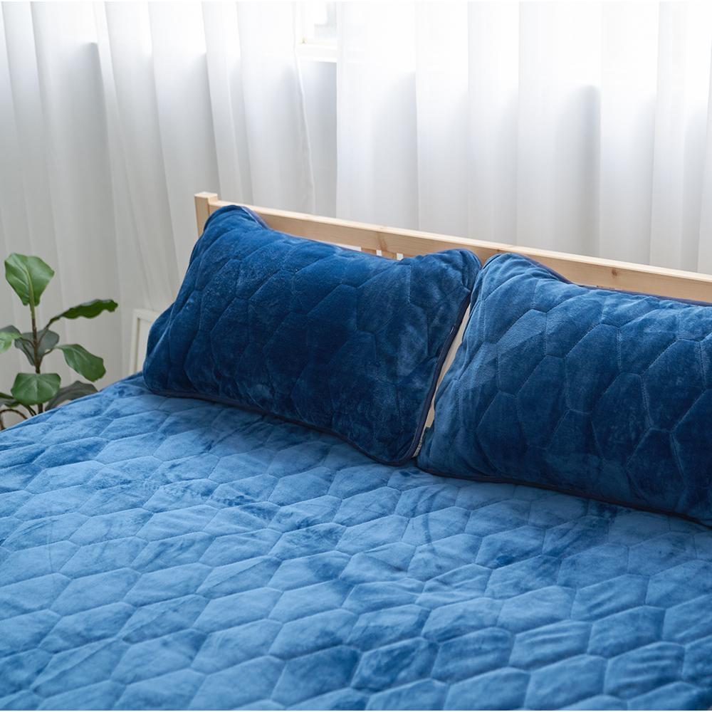 Adorar愛朵兒 典藏原色法蘭絨平單式兩用保暖枕墊-藍(2入)