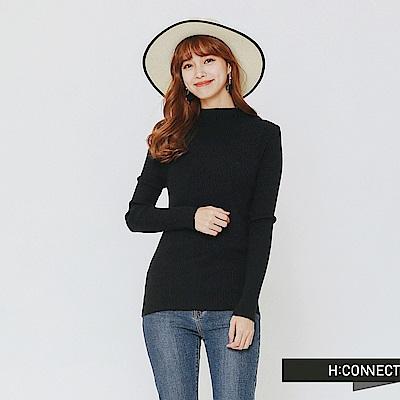 H:CONNECT 韓國品牌 女裝-簡約坑條針織上衣-黑