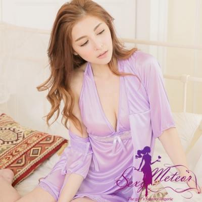 睡衣 全尺碼 繞頸V領連身睡衣+冰絲罩衫二件式睡衣組(浪漫淺紫) Sexy Meteor