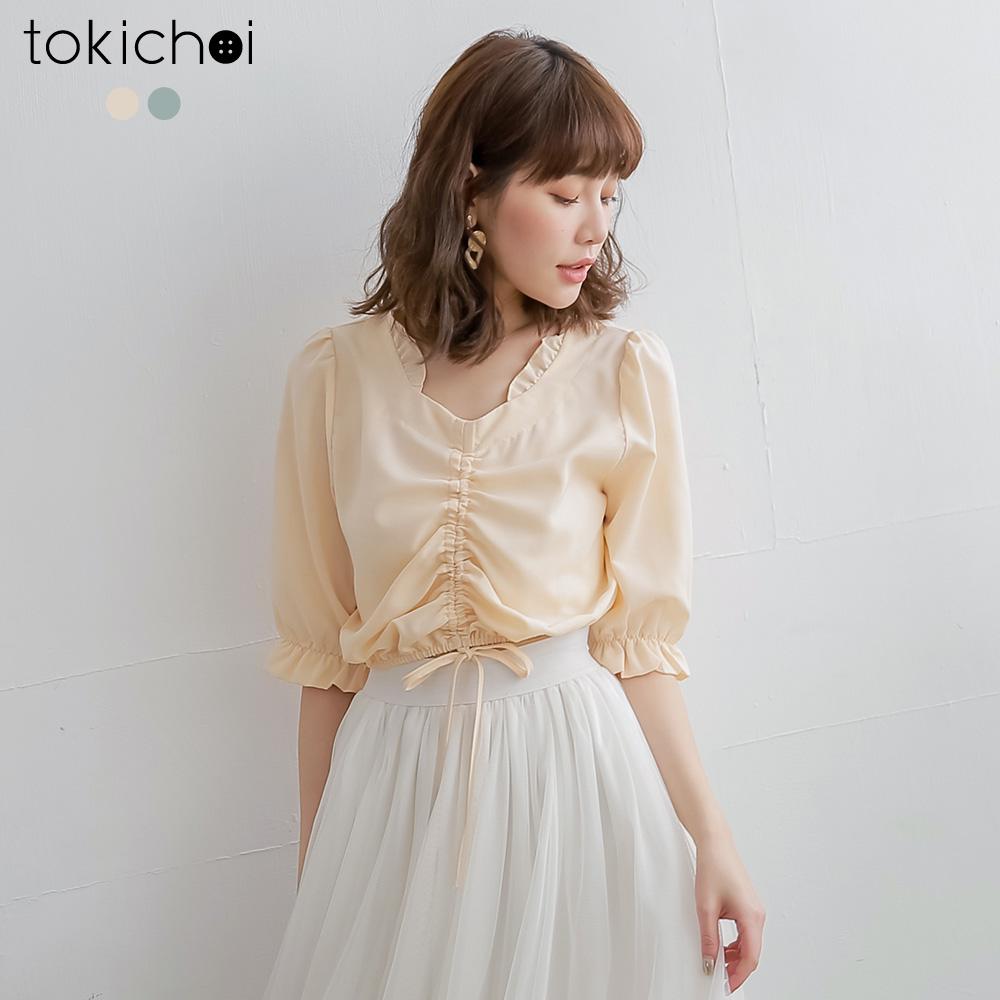 東京著衣 甜蜜春氛荷葉邊抓皺綁結上衣-S.M.L(共兩色)