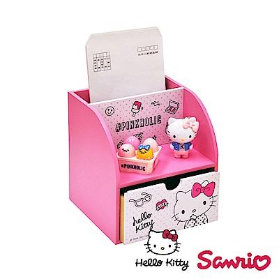 Hello Kitty 凱蒂貓單抽屜盒 美妝收納 飾品擺飾 置物盒 桌上收納(正版授權)