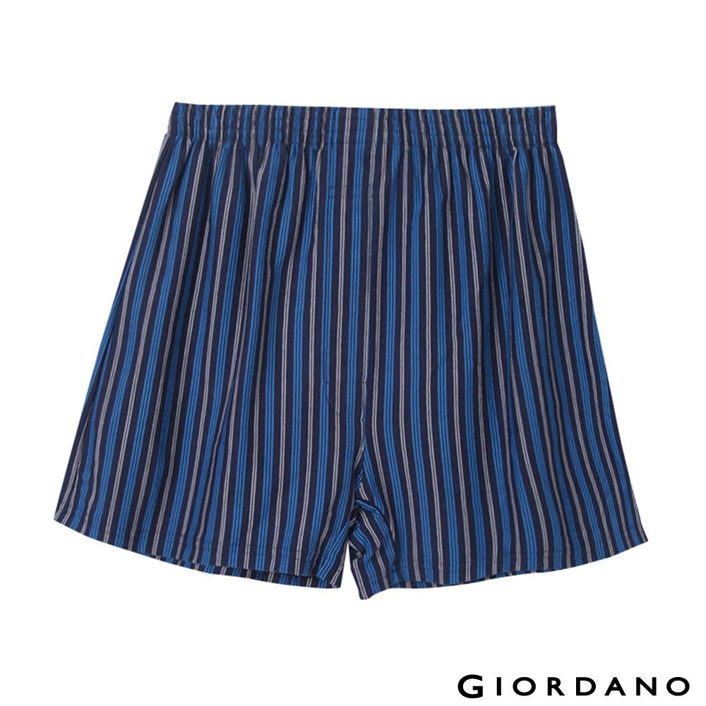 GIORDANO高品味沉穩條紋配色四角褲-87 深藍/寶藍