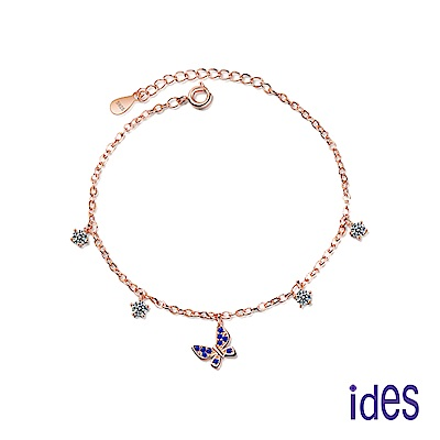 ides愛蒂思 輕珠寶玫瑰金設計藍寶手鍊/蝶戀