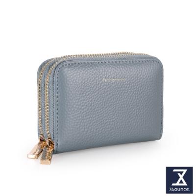 74盎司 Tender Lady 真皮防RFID雙層卡片零錢包[LN-765-TE-W]水藍