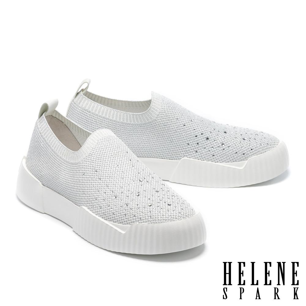 休閒鞋 HELENE SPARK 率性時尚晶鑽厚底休閒鞋-白