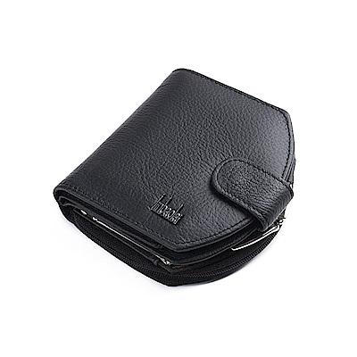 JINBAOLAI  GT1732BK牛皮拉鍊三折搭扣錢包皮夾附零錢包黑色