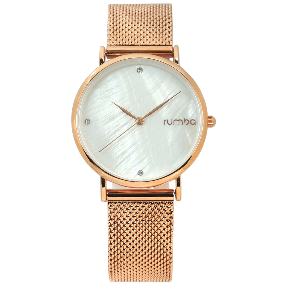 rumba time 紐約品牌 珍珠母貝 晶鑽 米蘭編織不鏽鋼手錶-銀白x玫瑰金/32mm