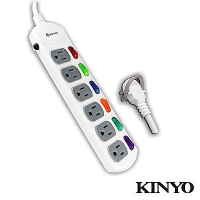 KINYO 6開6插省力拉環延長線2.7M(C5669)