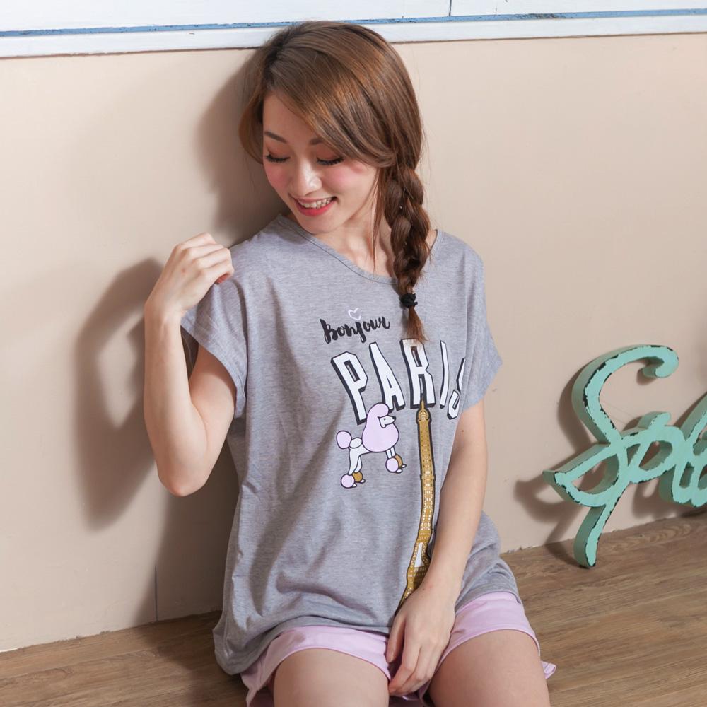 睡衣 彈性棉質短袖兩件式睡衣(C01-100557貴賓狗)Young Curves