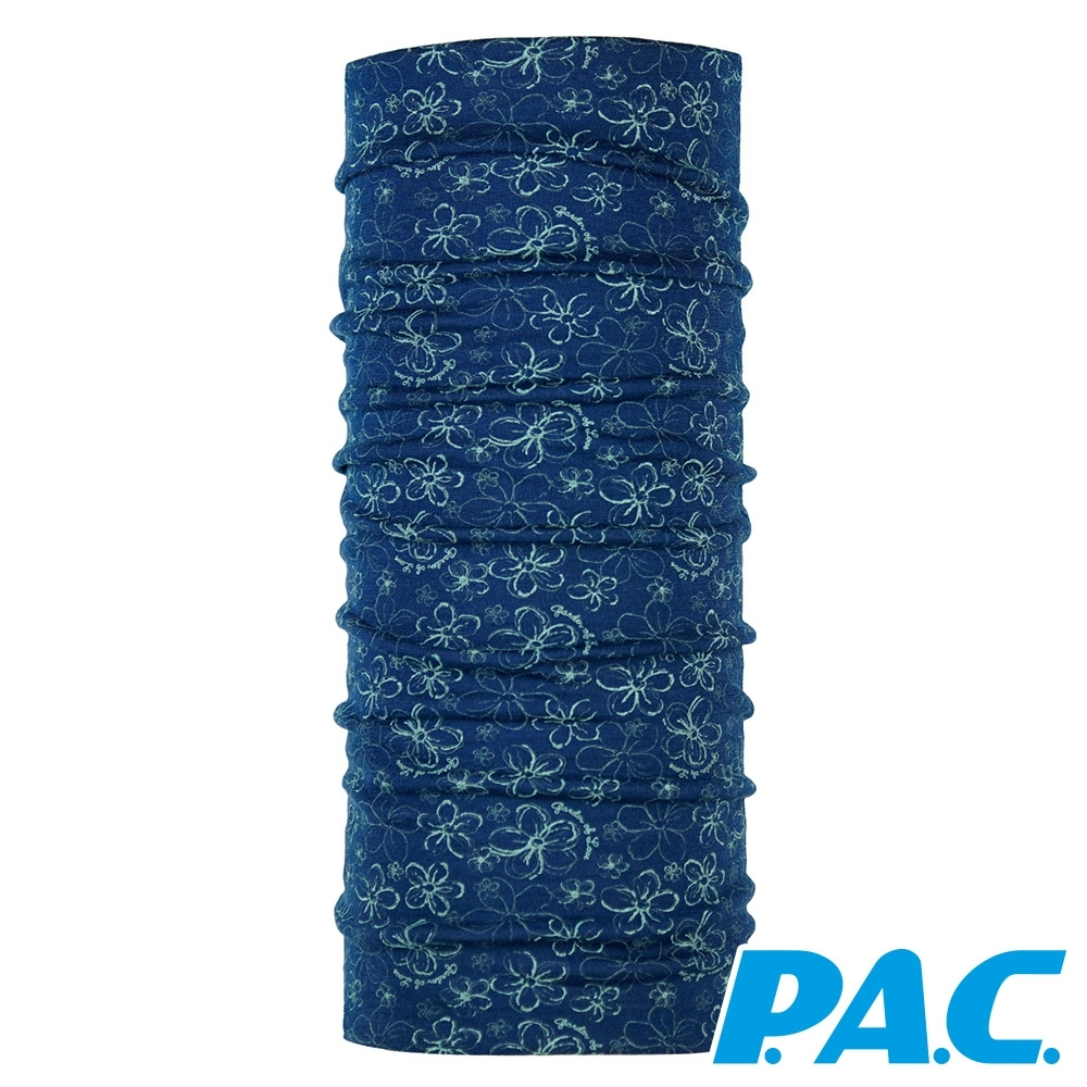 【PAC德國】美麗諾羊毛透氣抗臭經典頭巾PAC8850202花朵圖騰-藍