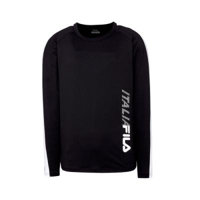FILA 男抗UV吸濕排汗長袖T恤-黑 1TET-5300-BK