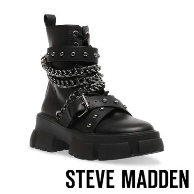 STEVE MADDEN-TRANQUIL 鉚釘銀鏈厚底軍靴-黑色