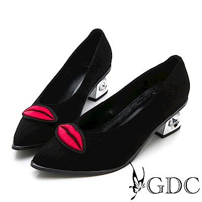 GDC-真皮新潮歐美大牌紅唇銀鞋跟尖頭高跟鞋-黑色
