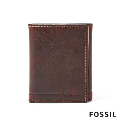 FOSSIL ALLEN 真皮證件格RFID男夾-咖啡色(無鐵盒)