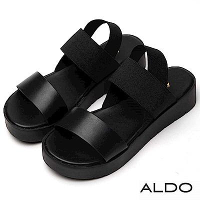 ALDO 原色寬版一字彈性鬆緊帶厚底涼鞋~尊爵黑色