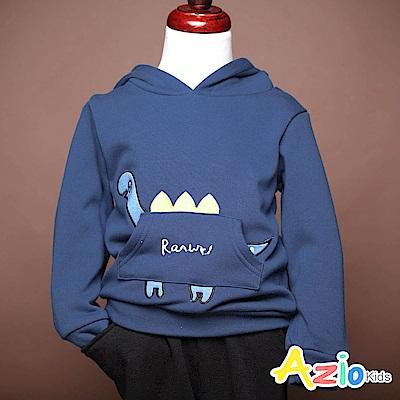 Azio Kids 上衣  恐龍刺繡造型口袋連帽不倒絨長袖上衣(藍)