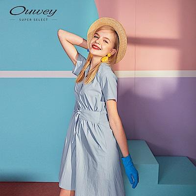 OUWEY歐薇 腰封造型V字領洋裝(藍)