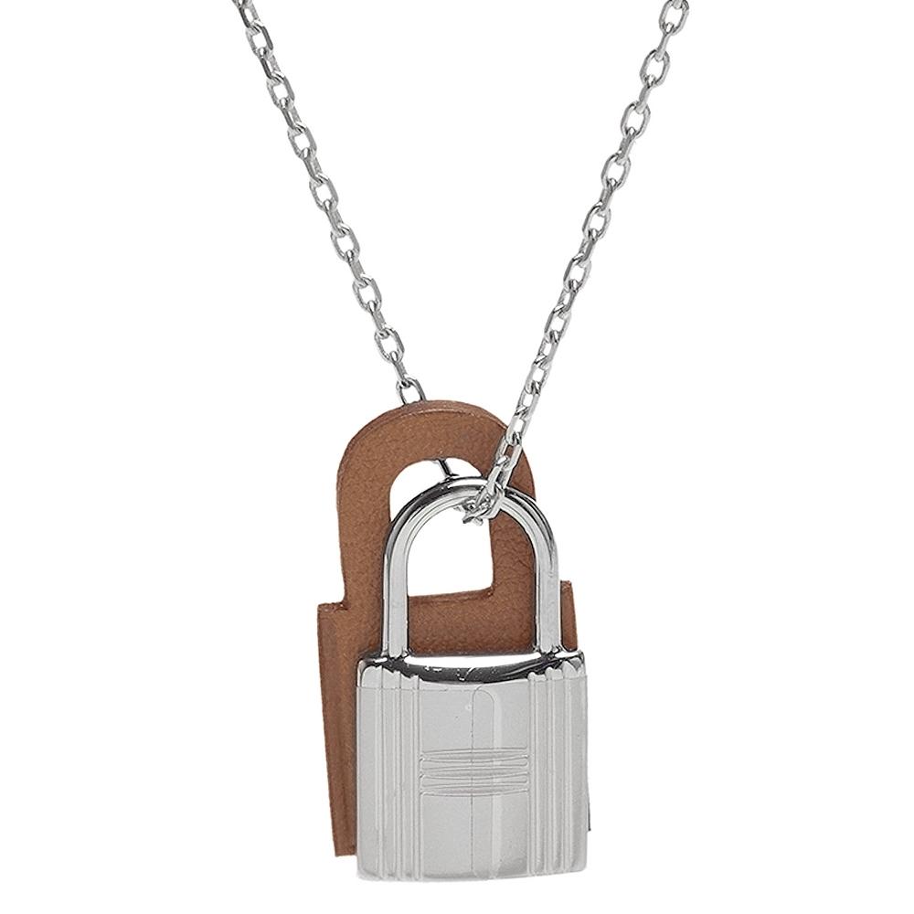 HERMES 經典O'Kelly系列鎖頭造型吊墜項鍊(小-褐金X銀)