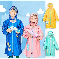 半島良品 韓國拉鏈款反光條大帽檐兒童雨衣 (4款)