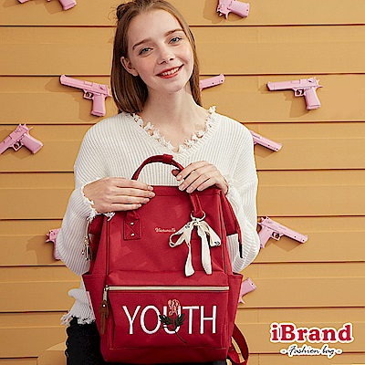 iBrand後背包 玫瑰刺繡素色大開口後背包-紅色