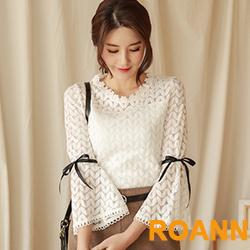 樹葉圖紋透視七分袖蕾絲上衣 (白色)-ROANN