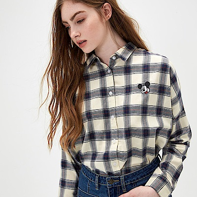 CACO-米奇款格子薄襯衫(兩色)-女【TDI017】