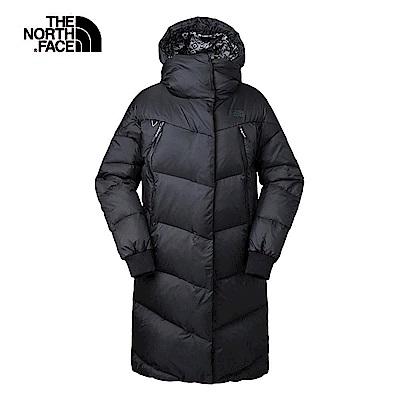 The North Face北面女款黑色中長時尚保暖羽絨外套 3L7IJK3